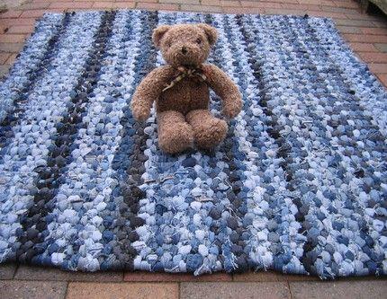 Denim Rag Rug: braided rugs look fabulous especially when made from denim.