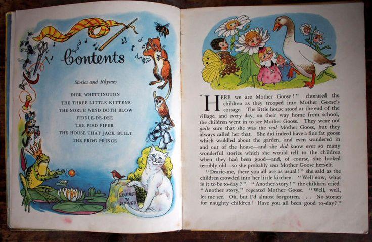 Mother Goose Nursery Rhymes - vintage 1950 book Hilda Boswell sunshine press
