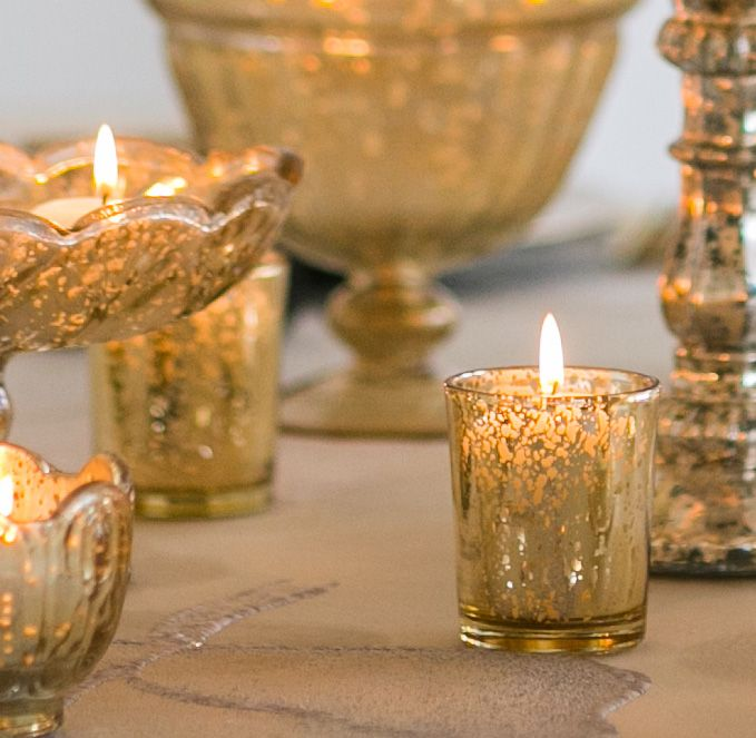 Gold Mercury Glass Votive Candle Holders | Wedding Decorations | Same Day Shipping