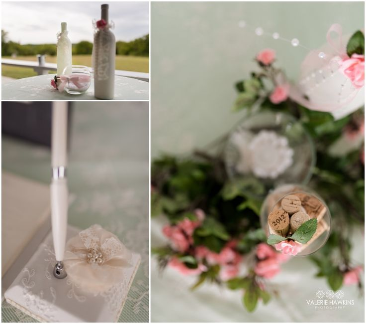 Pink, Mint Green, Gray, Lace & Pearls, wine corks  ..................  Valerie Hawkins Photography: Magnolia Estate Wedding   Nate & Tiffany