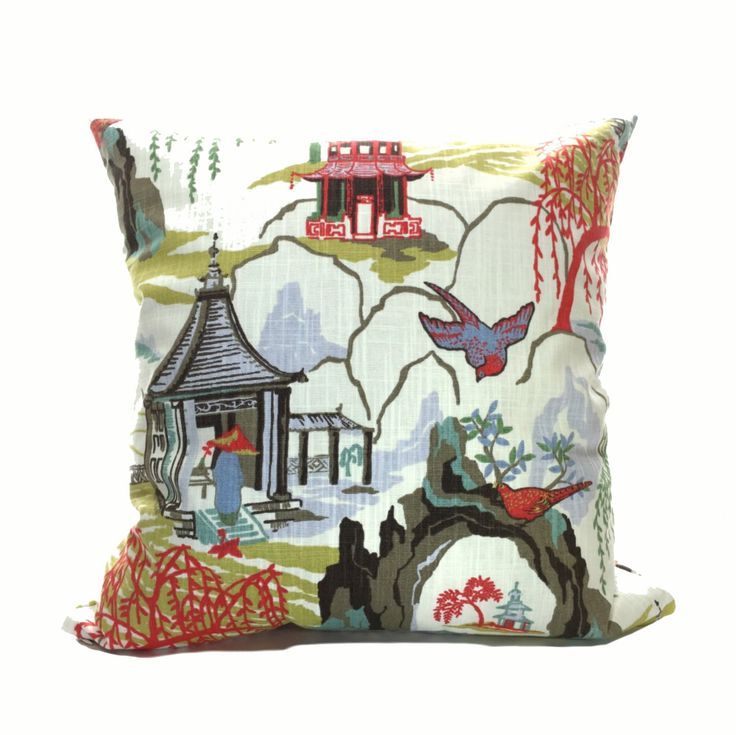 This chinoiserie pillow cover made in Robert Allen's Neo Toile nouveau Asian print of scenic rice fields, pavilions, bridges, fishermen, water and willow trees steals the show every time. A year round