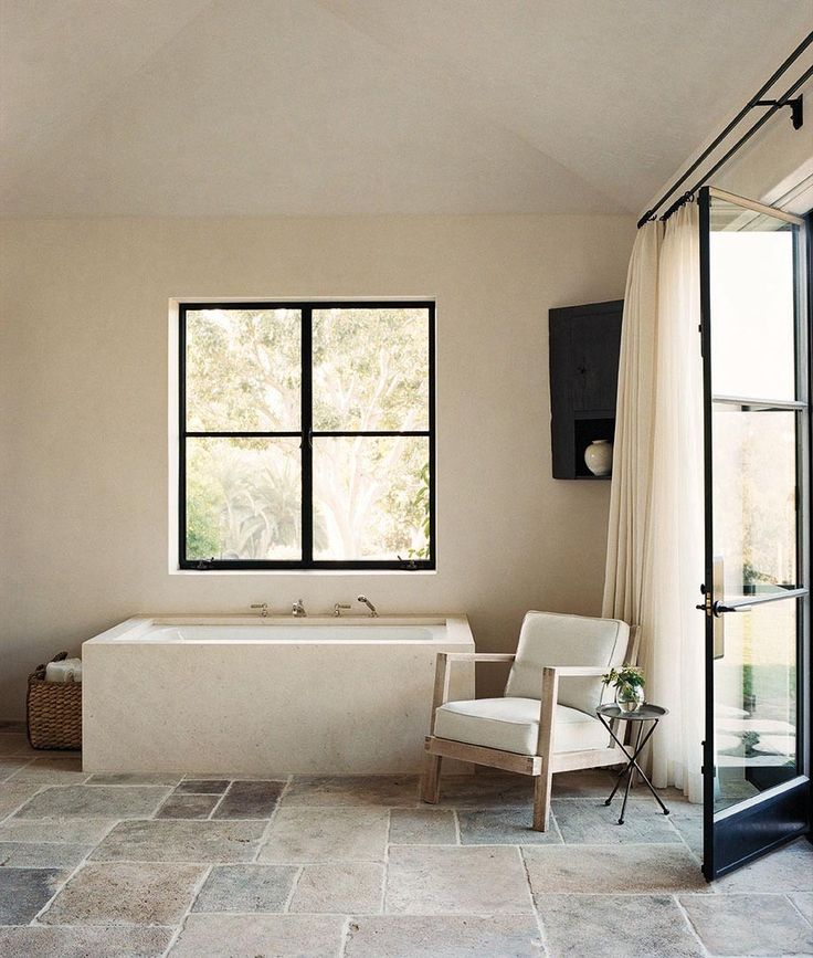 Bathrooms with open doors to outside
