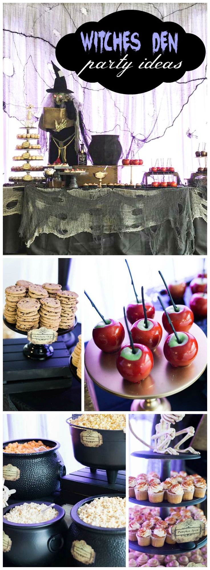 Here's a Witches Den party with lots of spooky treats! See more party ideas at CatchMyParty.com!