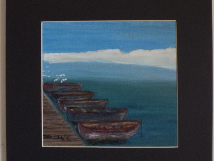 Boats for hire by Jaims  Oil on canvas on board  212 x 230 (mounted 342 x 355)