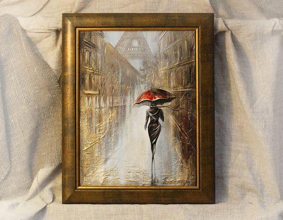 Pintura Parisienne Original arte pintura por OilPaintingsRaen