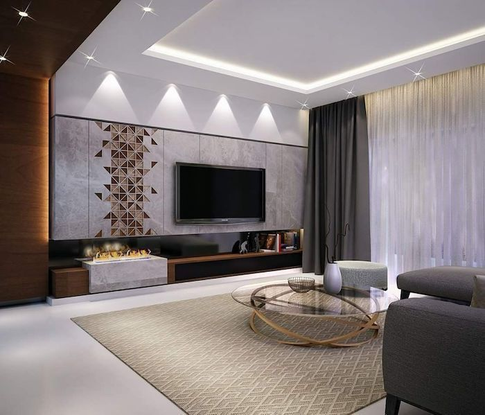 Tiled Marble Wall Designs Geometrical Tiles Beige Rug Fireplace Dark Grey Sofa In 2020 Ceiling Design Living Room Living Room Theaters Contemporary Decor Living Room #tile #accent #wall #in #living #room