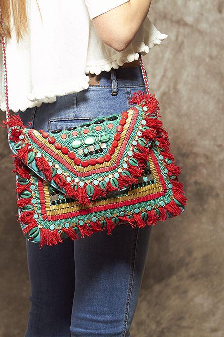 Bolso de ante turquesa, dorado y rojo - 165,00€ : Zaitegui - Moda y ropa de marca para señora en Encartaciones