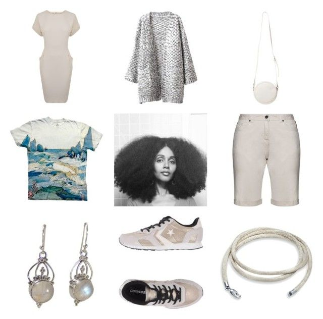 """Silvery Cream"" by thebookofstyle ❤ liked on Polyvore featuring By Malene Birger, Chicnova Fashion, Monki, Zhenzi, Converse and Bling Jewelry"