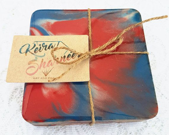 Check out this item in my Etsy shop https://www.etsy.com/au/listing/481478902/unique-handmade-resin-coasters-set-4-red