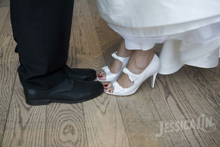 #wedding #shoes #bride #groom #heels #detail #bows #opentoe #feminine #GardinerMuseum #Toronto #JessicaLinPhotography
