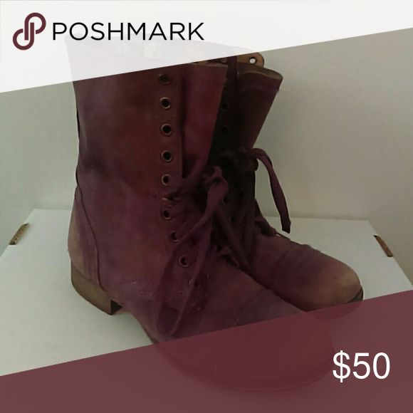 Steve Madden Distressed Purple Boots Only worn a few times. Steve Madden Shoes Combat & Moto Boots