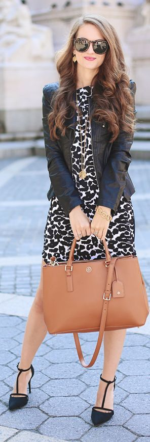 Black And White Animal Print Mini Dress