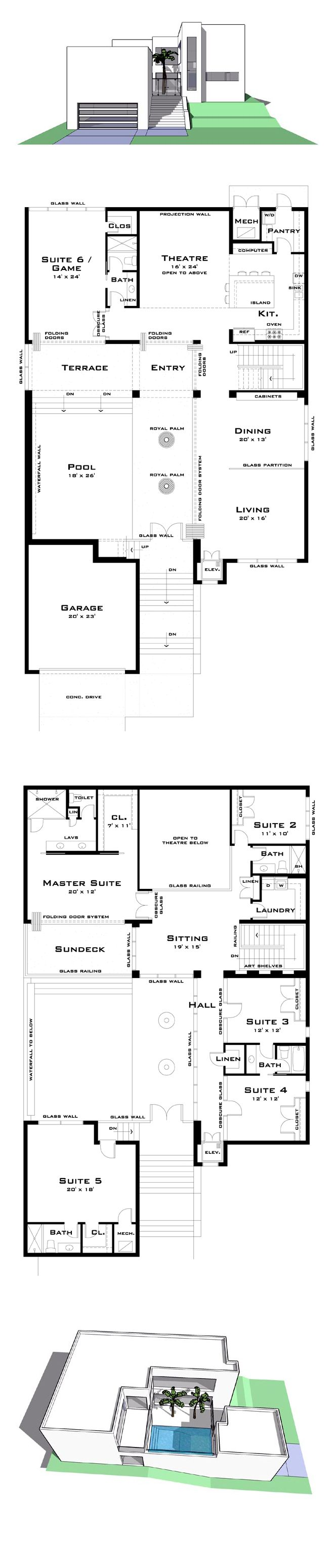 COOL House Plan ID: chp-39626 | Total Living Area: 4757 sq. ft., 6 bedrooms & 5 bathrooms. The interior of the home faces the pool courtyard which is filled with the sound of the waterfall wall. The family theatre is connected with the kitchen and provides a two story movie projection space. #houseplan #courtyard