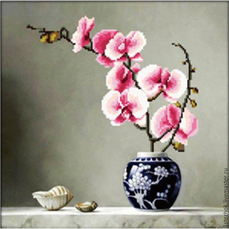 Купить Набор для вышивки крестиком 3D Розовая орхидея - набор для вышивания, купить набор вышивки