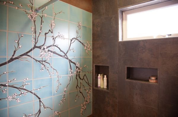 Love this... the caddies, the wall, and the shower window. Beautiful.