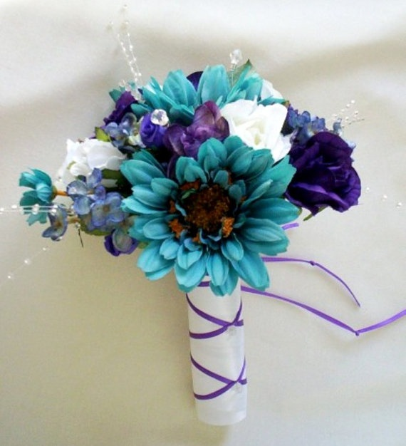 Teal Wedding accessories Bouquet Purple Boutonniere by AmoreBride, $59.00