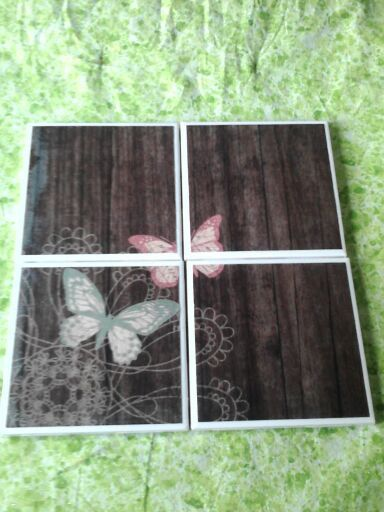 Set of 4 decoupaged tile coasters. Butterflies on wood by BlackwellsBoutique on Etsy, $8.00