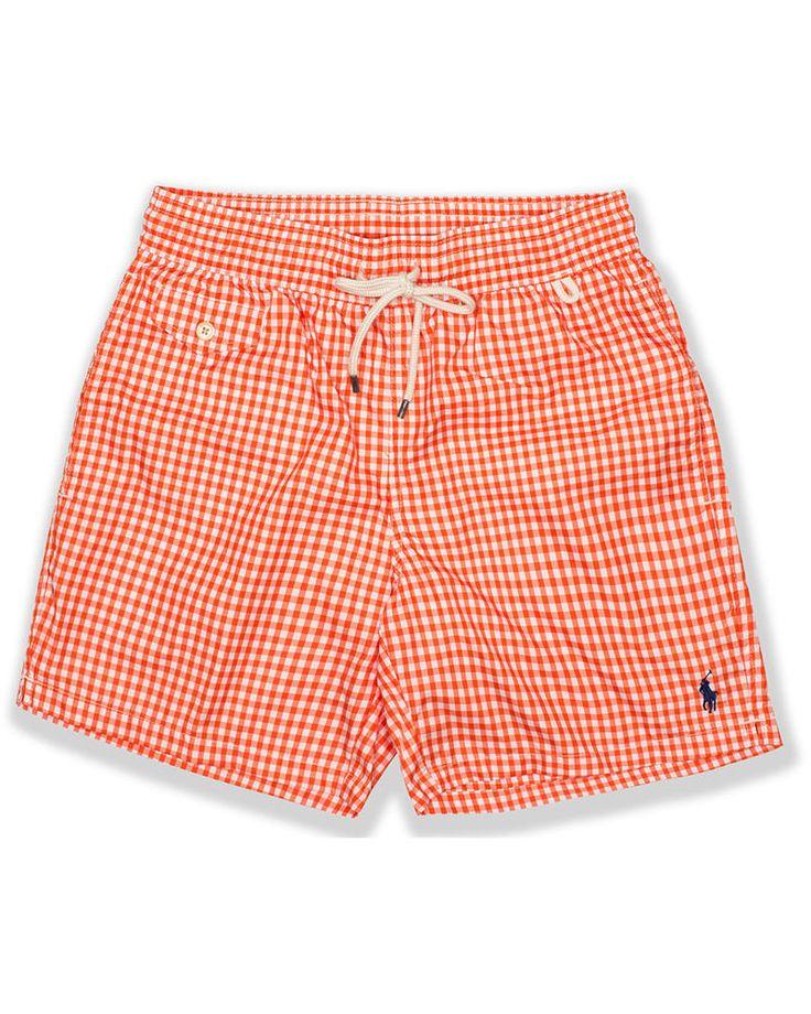 POLO RALPH LAUREN Swim Shorts Traveler Orange Gingham Lined Trunks 4X Big  New