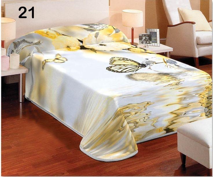 Biela prikrývka na posteľ s motívom s motívom žltého motýľa vo vode
