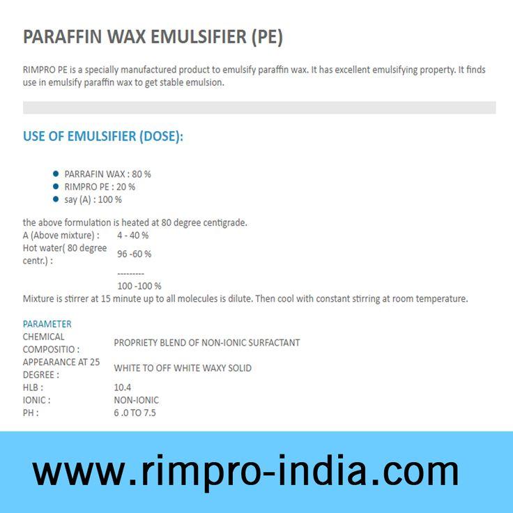 PARAFFIN WAX EMULSIFIER (PE) - http://www.rimpro-india.com/paraffin-wax-emulsifier.html