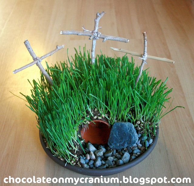 Calvary's Hill or Empty Tomb Easter Garden cute project to do with children as you tell them the story of the resurrection. Fun fhe project!