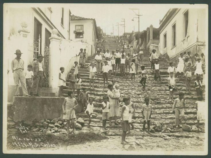 Morro de São Carlos, Estácio, em 22/01/1933. É considerada uma das comunidades mais antigas da cidade, sendo que sua ocupação remonta ao início do século XX. Foto: Augusto Malta