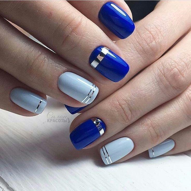Сине-голубой маникюр с лентами