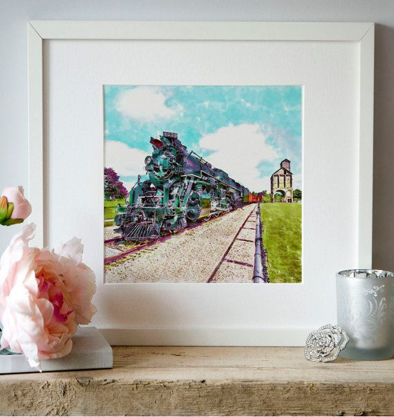 Vintage train Railway station Watercolor Wall art by Artsyndrome