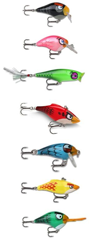 "Rapala Angry Birds Fishing Lures. Angry birds must have a ""secret"" goal of taking over the world. But if the fish bite, who cares!?! For More Check http://yo-zuri.com/"