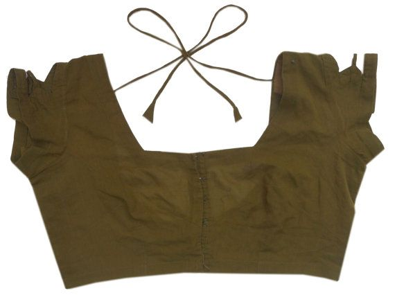 Kostenloser Versand Vintage Baumwolle grün Saree Bluse Choli Shirt Top Kleid Tunika Frauen Größe B27
