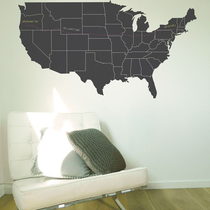 USA Road Trip planning is made easy with Moonface Studios chalkboard wall sticker. This chalkboard decal will look great in the lounge, kitchen or kid's bedrooms. #chalkboard #unitedstates #wallsticker