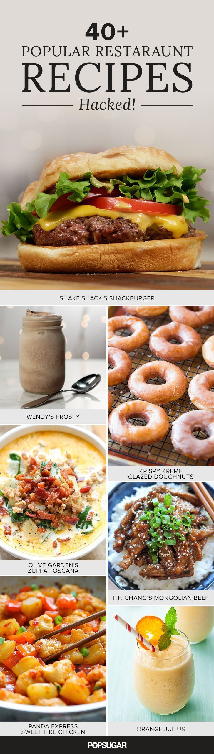 Homemade Krispy Kreme glazed doughnuts, Chick-fil-A nuggets, Starbuck's pumpkin spice scones, Red Lobster cheddar bay biscuits, and more restaurant copycat recipes.