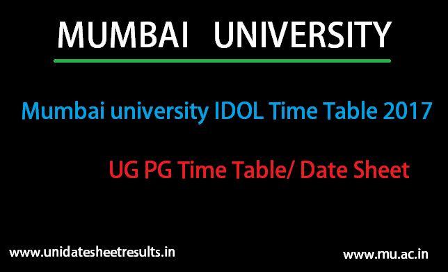 Mumbai University Idol Time Table