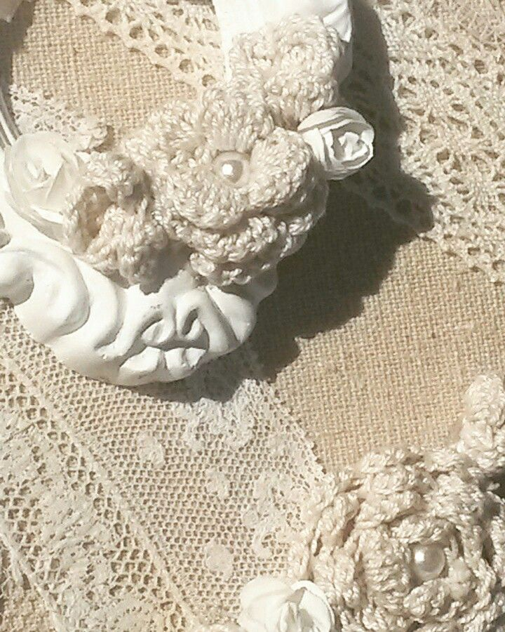 toile lin et fleurs au crochet shabby perles boho dentelle mariagef te amour cadeau. Black Bedroom Furniture Sets. Home Design Ideas