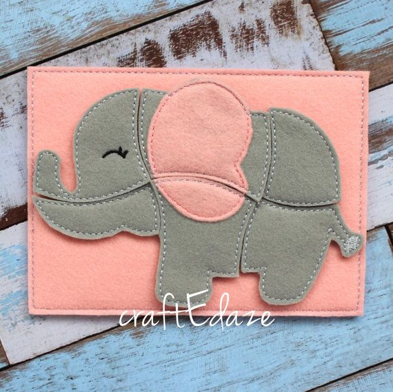 Elephant On-the-Go Felt Puzzle with Storage Pouch