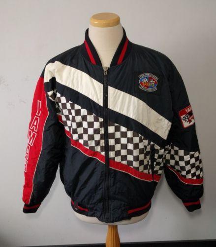 Vintage Yamaha Racing Jacket Snowmobile Men's Size L Checkered Full Zip Coat