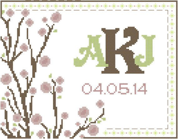 Counted Cross Stitch Pattern Cherry Blossoms with Monogram and Date
