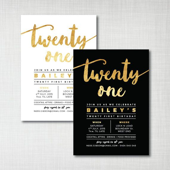 Modern Gold Foil 21st birthday printable digital invitation - black or white with gold effect brush script