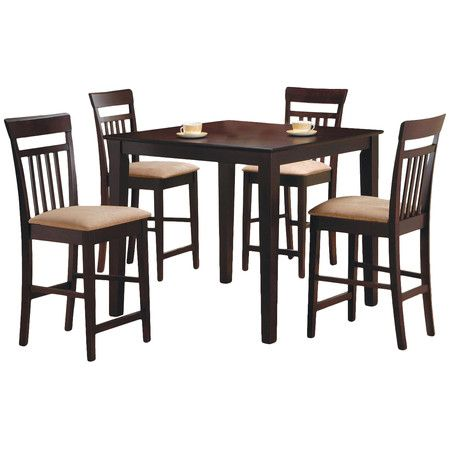Coaster Cappuccino Finish Counter Height Dining Table And 4 Barstools Set 5 Piece SetCounter Chairs This
