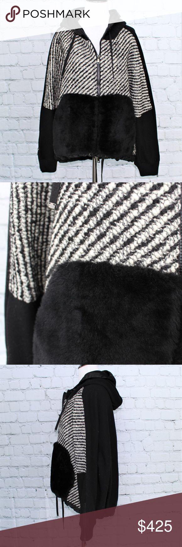 Moncler Black & White Partial Fur Jacket Black and white