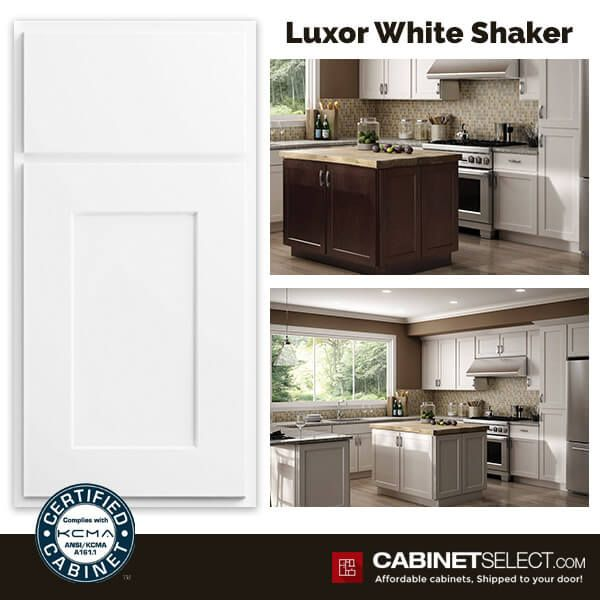 Buy Luxor White Kitchen Cabinets Rta Cabinets By Cabinetselect Kitchen Cabinets Rta Kitchen Cabinets Shaker Style Rta Kitchen Cabinets