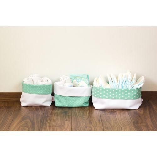Menta csillagos textil tároló, háromféle méretben, Pastel Baby babaszoba