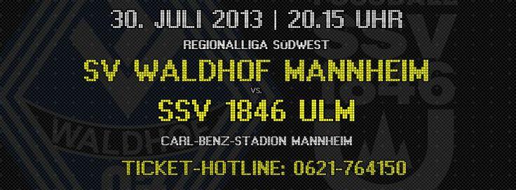 SV Waldhof Mannheim 07 - SSV Ulm 1846 DFB-Regionalliga Südwest, Saison 2013/2014, 01. Spieltag Dienstag, 30.07.2013, 20:15 Uhr Carl-Benz-Stadion, Theodor-Heuss-Anlage, 68165 Mannheim