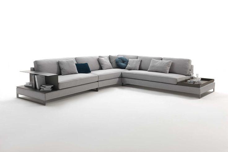 Sled base sectional fabric sofa DAVIS CASE - FRIGERIO POLTRONE E DIVANI