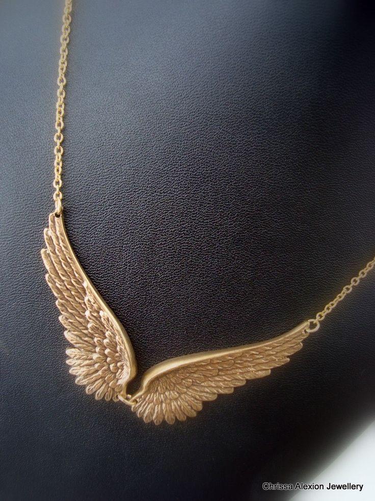 CELESTE - Steampunk Antique Brass Angel Wings Short Necklace. $21.50, via Etsy.
