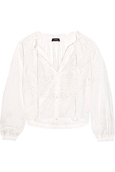 Theory - Maryana Broderie Anglaise Cotton Blouse - White - x small