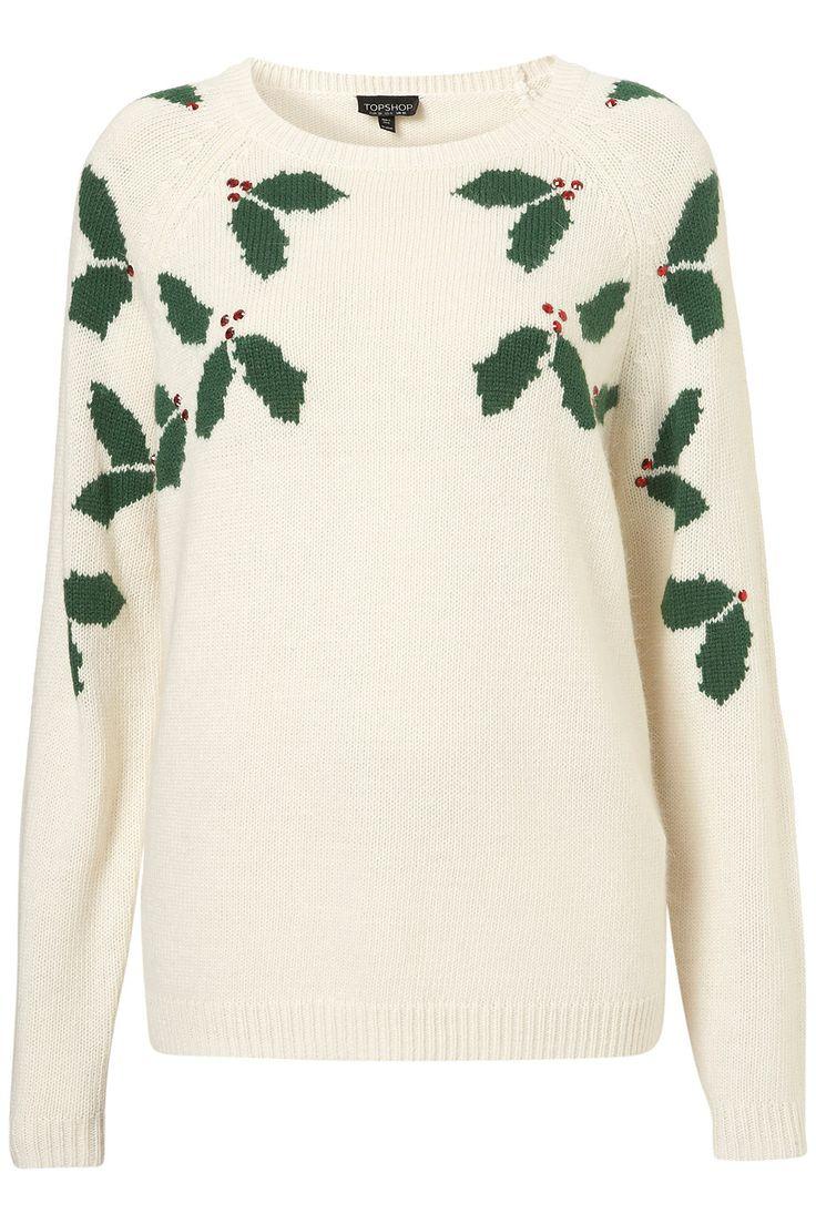 Knitted Xmas Holly Jumper