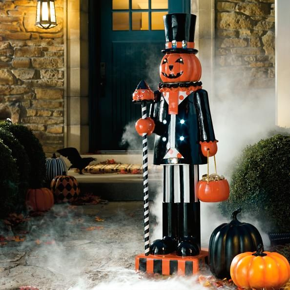 Let our glowing Pumpkin Man stand guard at your door for an eight-hour shift. With a multitude of cheerful details, he's sure to command the attention of ghosts, goblins, and fairies throughout your neighborhood. In addition to standing still with a vibrantly striped cane, he also grips a candy pail that really holds wrapped treats, so you can task him with handing out candy to trick-or-treaters this Halloween.Cordless and charmingly detailed light-up Pumpkin Man figureCrafted from durabl...