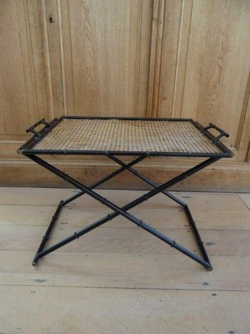 French wicker and metal faux bamboo tray table c.1920