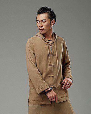 Beige Chinese Pankou Hooded Chinese Style Men's Jacket via Asia-Sale Best Tai Chi, Kung Fu Clothing